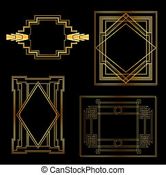 Art Deco Vintage frames and design elements - with place for your text - in vector