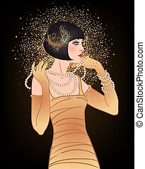 Art Deco vintage invitation template design with illustration of flapper girl. patterns and frames. Retro party background set 1920s style. Vector for glamour event