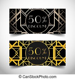Art Deco vintage invitation template design with illustration of flapper girl. Retro party background set 1920s style. Vector