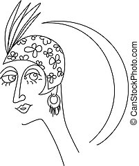 Art deco woman face design element