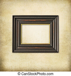Art deco wooden empty frame on a grunge background