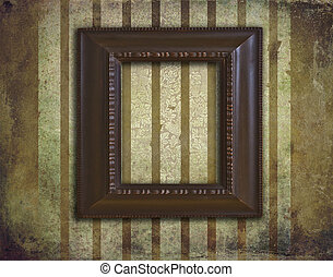 Art deco wooden frame on grunge and faded wallpaper