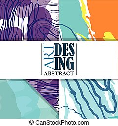 art design abstract, strokes stains color cover banner layout