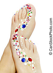 Art design. - Art design on the nails of the feet and the...