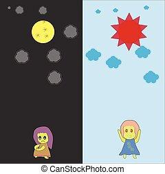 cartoon feeling of day and night