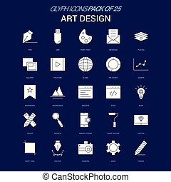 Art Design White icon over Blue background. 25 Icon Pack