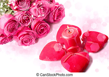 pink roses, candle and red hearts