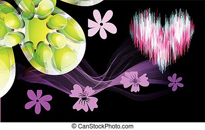 art design with flower and hearts on abstract background
