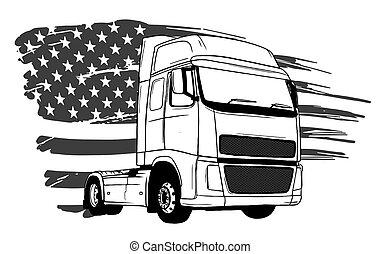 art, dessin animé, conception, demi-camion, vecteur, illustration