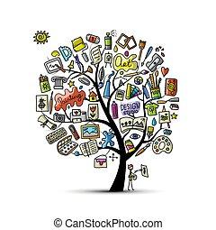 art, dessin, arbre, conception, ton, école