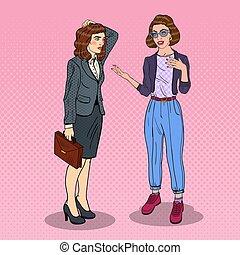 art, discussion., business, bureau., deux, pop, conversation, vecteur, illustration, femmes