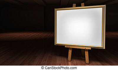 Art Easel with blank framed canvas in a darkened gallery