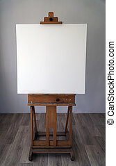 Art easel with empty canvas