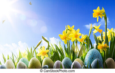 art Easter background; Spring flowers and easter eggs