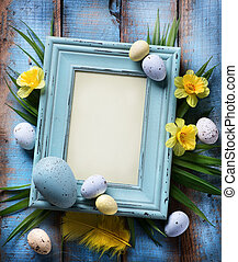 art Easter Background with easter eggs on wooden background