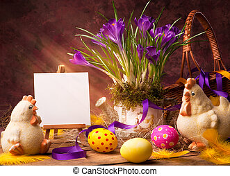 art Easter background with flower and Easter eggs