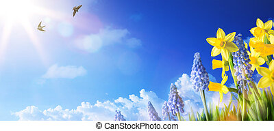 art Easter background with fresh spring flowers - Easter...