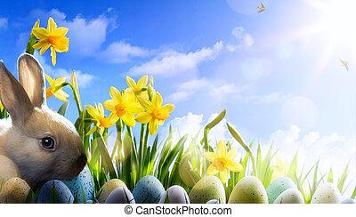 art Easter bunny, Easter eggs and spring flower - Easter...