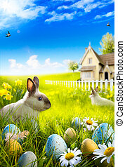 Art Easter bunny rabbit and easter eggs on meadow