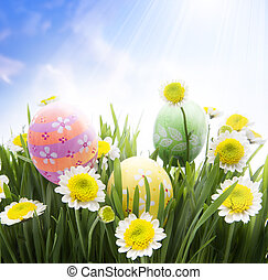 Art Easter eggs decorated in grass