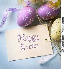 art Easter eggs on wooden background
