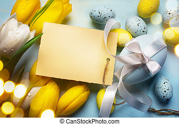 art Easter eggs on wooden table background