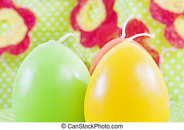 Art Easter greeting card with candles as eggs