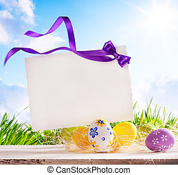 art Easter greeting card with Easter eggs