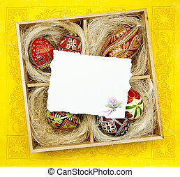 Art Easter greeting card with Traditional Easter decoration