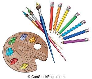 a vector illustration in eps 10 format of art materials with brushes pencils and an artists palette with paints on a white background
