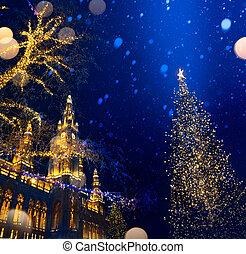 art European Christmas; Christmas Tree and Old city;