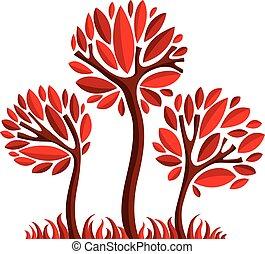 Art fairy illustration of tree, stylized eco symbol. Insight vector image on season idea, beautiful picture.