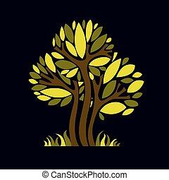 Art fantasy illustration of tree, stylized eco symbol. Graphic design vector image on season idea, beautiful picture.