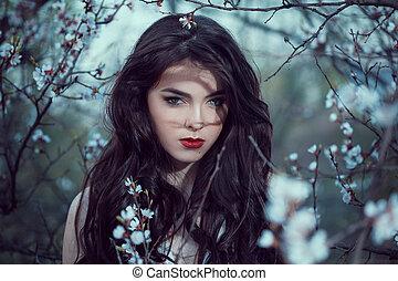 Art Fashion Spring Model Girl Portrait in Night Forest