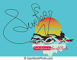art, filles, océan pacifique, vecteur, surfeur