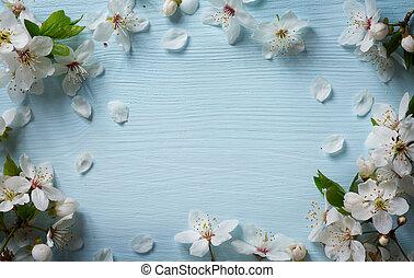 art, fleur, printemps, fond, floral, blanc, frontière