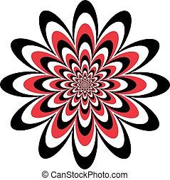 art, fleur, red-black-white, op