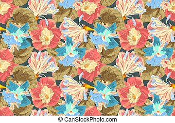 Art floral vector seamless pattern with moning glory....