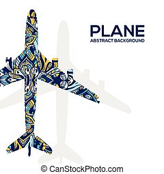Art flying airplane with abstract colorful ornaments background. Vector decorative national template of culture illustration design concept