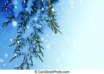 art, fond, neige, arbre noël