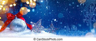 art, fond, neige, lumières, noël, bleu, fetes