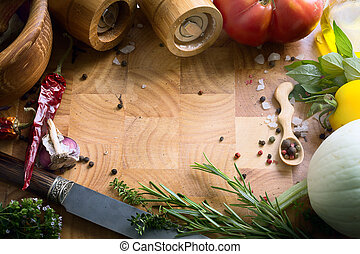 art fresh vegetables and spices on the wooden background; food recipes
