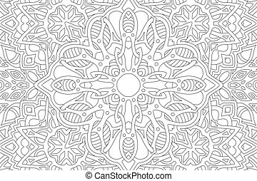 Beautiful linear illustration for adult coloring book with abstract rectangle black pattern on the white background