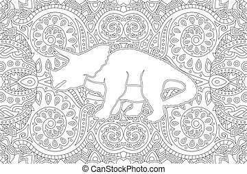 Art for coloring book with white dinosaur