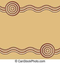 art, format., aborigène, vecteur, fond, australien