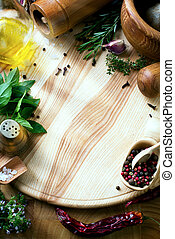 art fresh vegetables and spices on the wooden background