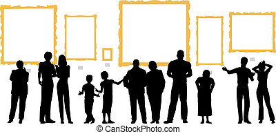 Editable vector silhouettes of diverse people at an art gallery or museum