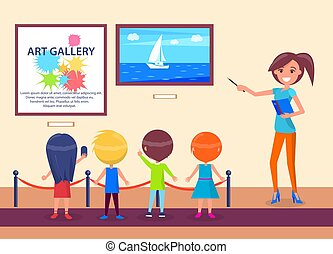 Art Gallery Excursion School Children with Guide