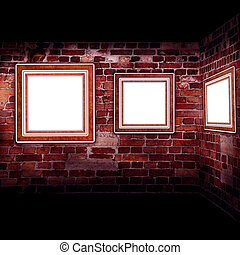 Art gallery. Frames old leather on a brickwall.
