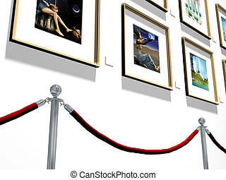 Illustration of pictures hanging on a gallery wall